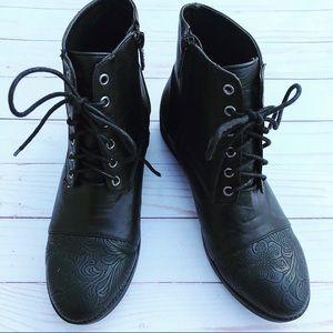 Michael Antonio filigree embossed combat boots
